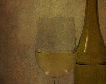 Still Life Rustic White Wine Glass and Bottle - 8x10 Fine Art Photograph