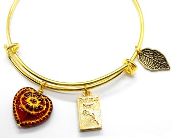Romance Novel Bracelet Adjustable Size Stackable Bangle Gift Romantic Jewelry