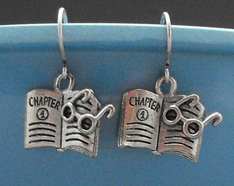 Book with Glasses Earrings Dangle Bookish Readers Literary Jewelry