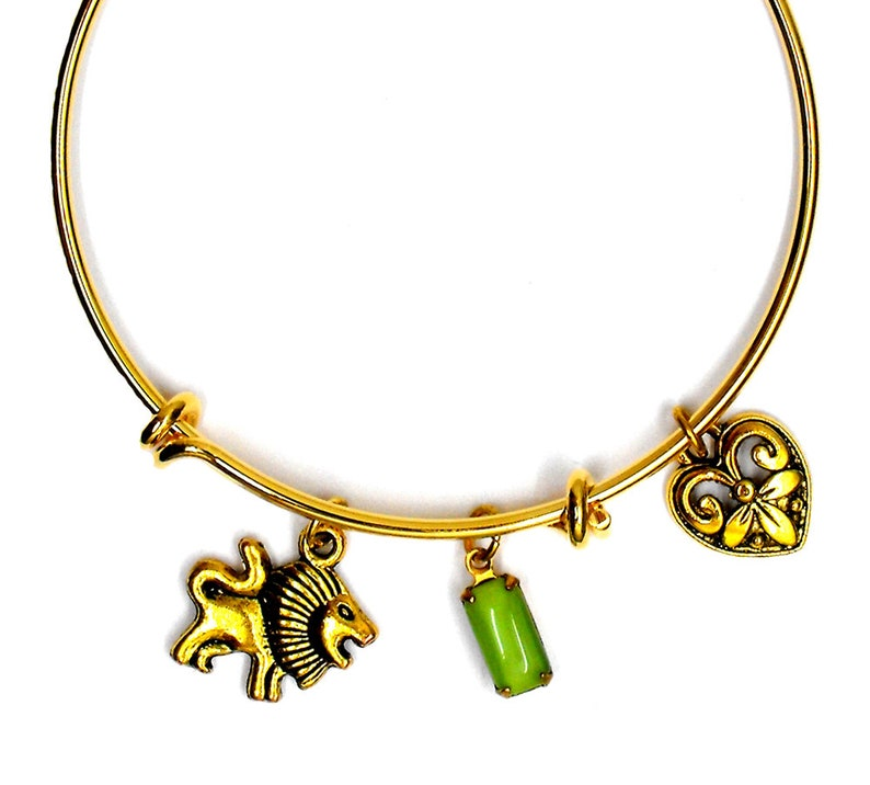 July August Birthday Gift Leo Lion Bracelet Astrology Horoscope Jewelry Zodiac Bangle