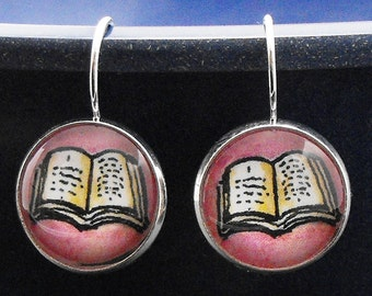Book Earrings Open Book Pink Black Bookish Literary Jewelry