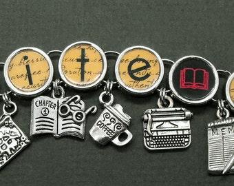 Write On Charm Bracelet Writers Authors Literary Jewelry Writer Gift