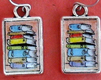 Book Stack Earrings Bookish Literary Themed Rectangle
