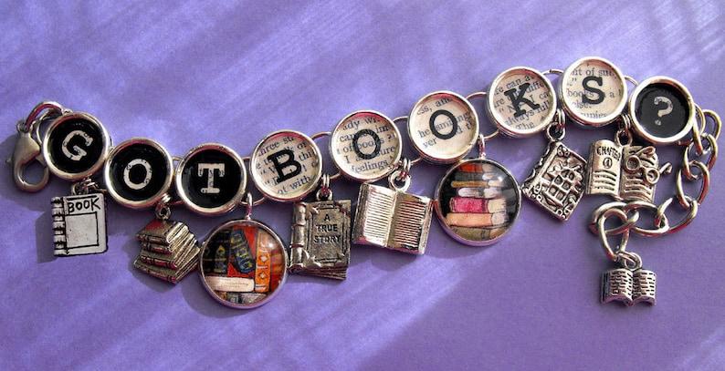 Got Books Book Charm Bracelet Literary Themed Bookish Jewelry image 0