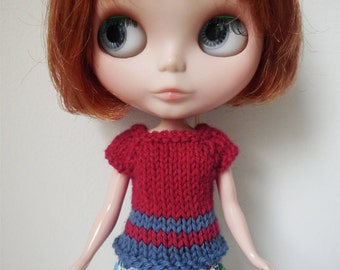 SALE - Blythe Top - Red and Blue Short Sleeved Sweater