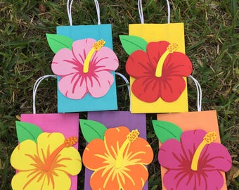 Hibiscus Flower Birthday Party Favor Bag