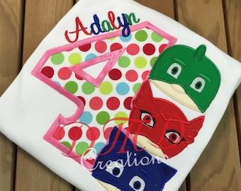 PJ Mask Applique  boy or girl Shirt