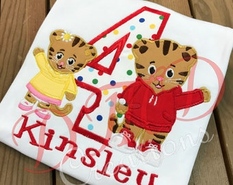 Daniel the Tiger and Baby Margaret Birthday Applique Shirt