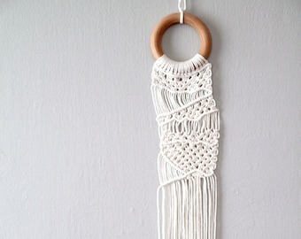 Macrame Art Wall Hanging. Small Macrame Ring. Cotton Twine Textile Art.