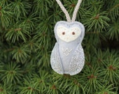 Silver Mini Owl Ornament. Felt Christmas Ornament.