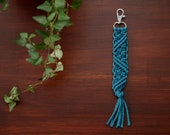 Turquoise Macrame Key Chain. Bohemian Accessory. Zipper Pull. Galentine Gift Valentine Gift.