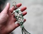 Bohemian Key Chain Durable. Two Toned Macrame Key Clip. Women's Boho Accessory. Zipper Pull.