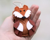 Felt Fox Ornament. Owl Ornament with Fox Mask. Plush Woodland Christmas Ornament Handmade by OrdinaryMommy