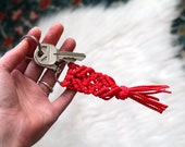 Red Macrame Key Chain. Boho Accessory Gift. Keychain Accessory. Bridesmaid Gift.