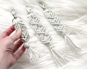 Silver Sparkle Macrame Key Chain. Bohemian Accessory. Zipper Pull. Purse Clip.