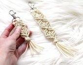 Gold Sparkle Macrame Key Chain. Bohemian Accessory. Zipper Pull. Purse Clip.