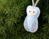 Mini Felt Owl Ornament in Blue. Baby Christmas Ornament.