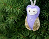 Mini Owl Ornament. Felt Christmas Ornament. Woodland Christmas Ornament.