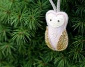 Mini Owl Ornament. Pink Felt Christmas Ornament. Glitter Woodland Ornament.