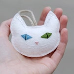 Cat Christmas Ornament Embroidered. White Cat Multi Colored Eyes in Blue and Green. Felt Cat Head Christmas Ornament for Cat Lover