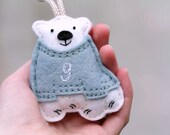 Polar Bear Ornament. Baby's First Christmas Ornament. Personalized Felt Christmas Ornament. Polar Bear in Sweater Keepsake Ornament.