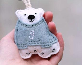 Polar Bear Ornament. Baby's First Christmas Ornament. Personalized Felt Christmas Ornament. Polar Bear in Sweater Keepsake Ornament.