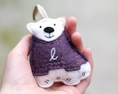 First Christmas Ornament, Embroidered Personalized Ornament, Baby Polar Bear in Purple Sweater,  Handmade by OrdinaryMommy on Etsy