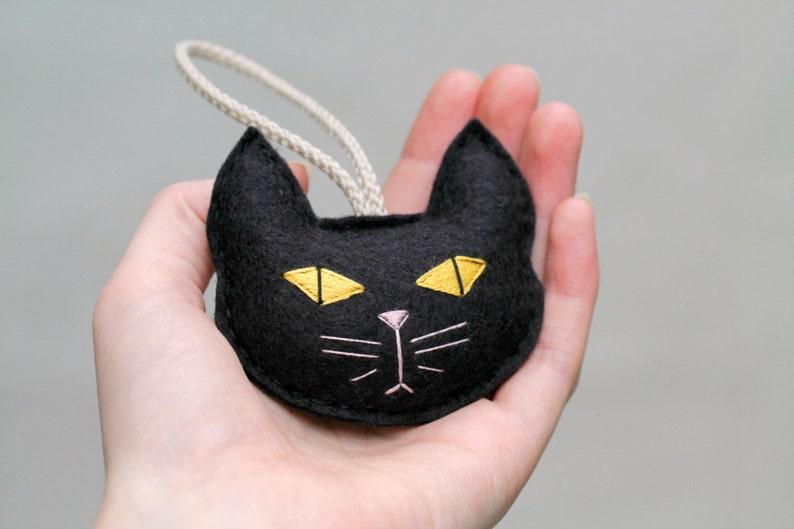 Felt Cat Ornament. Spooky Black Cat. Gift for the Cat Lady. image 0