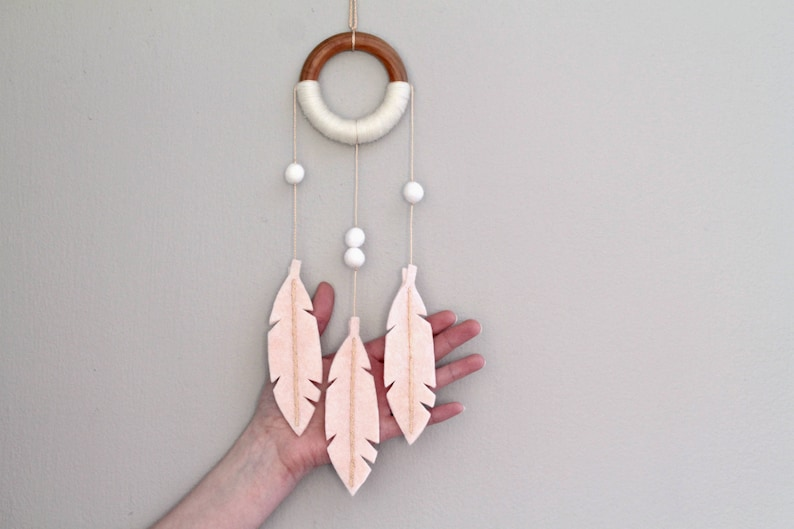 Nursery Decor Dream Catcher. Peach Felt Feather Wall Hanging. image 0