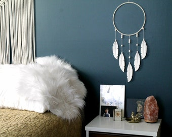 Dreamcatcher with White Feathers. Bohemian Wall Decor. White Dream Catcher. Tribal Southwestern Nursery. Bedroom Wall Hanging.