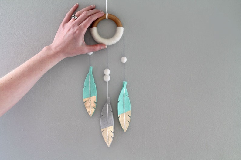 Nursery Dream Catcher. Mint Feather Wall Mobile. Felt Feather image 0