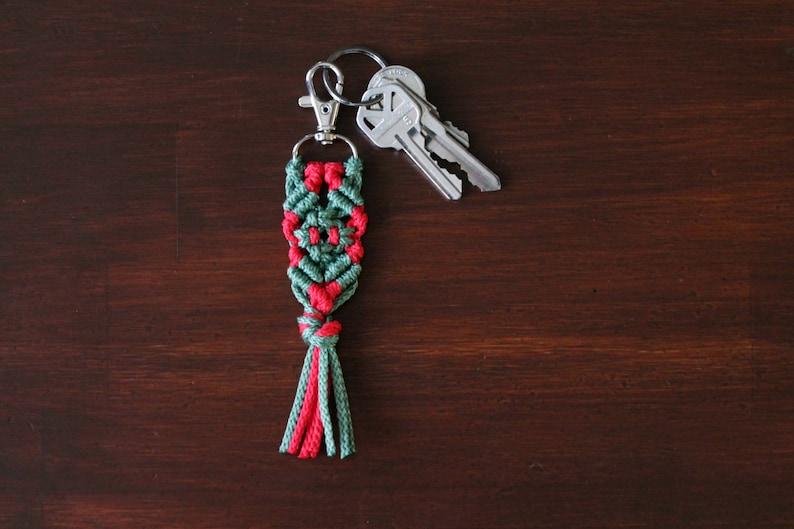 Holiday Key Chain. Christmas Macrame Key Chain. Hostess Gift. image 0