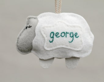 Sheep Ornament Personalized, Embroidered First Christmas Baby Ornament, 1st Xmas Felt Ornament Handmade by OrdinaryMommy on Etsy