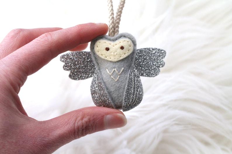 Angel Baby Remembrance Owl Ornament. Mini Owl Ornament. image 0