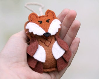 Child's Felt Fox Ornament. Owl Ornament with Fox Mask. Plush Woodland Christmas Ornament Handmade by OrdinaryMommy
