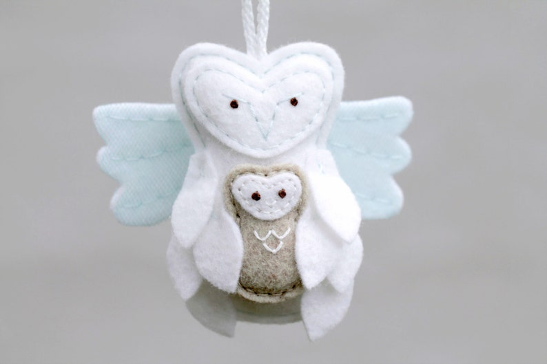 Miscarriage Ornament Angel Owl with Baby. Felt Christmas image 0
