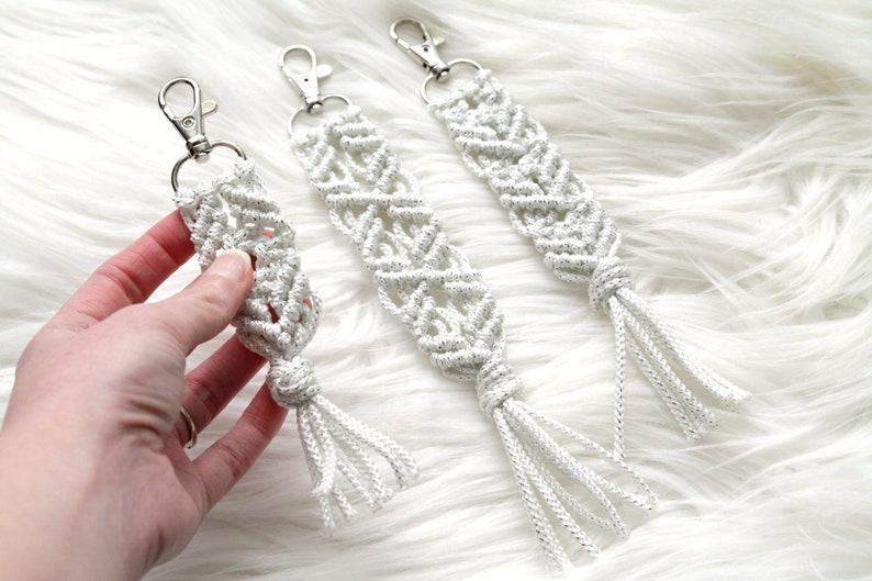 Silver Sparkle Macrame Key Chain. Bohemian Accessory. Zipper image 0