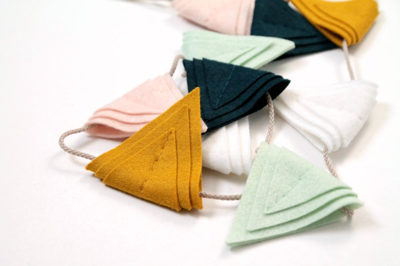 Felt Triangle Garland. Nursery Wall Decor. Art Deco Triangle image 0