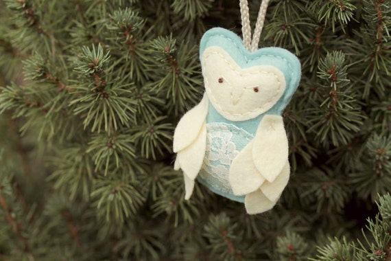 50 - Felt Owl Ornament For Expectant Mother. Aqua Christmas Ornament. Pregnant  Mother's Day Gift. New Mom Ornament.
