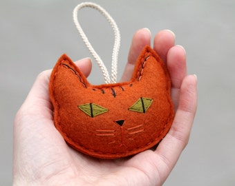 Embroidered Felt Cat Ornament, Plush Cat Head for Cat Lover, Crazy Cat Lady Gift, Striped Calico Cat Rust Orange Handmade by OrdinaryMommy