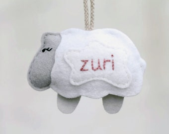 Personalized Sheep Baby's First Christmas Ornament. Gray Lamb Keepsake. Handmade by OrdinaryMommy on Etsy