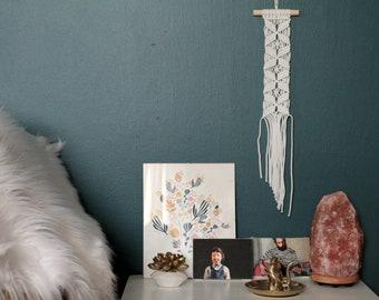 Small Macrame Wall Hanging in White. Bohemian Wall Art.