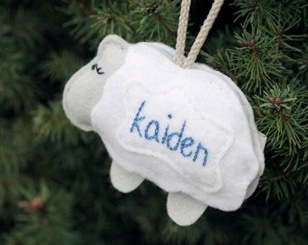 Baby's First Christmas. Personalized Ornament. Felt Sheep Christmas Ornament with Name. Nativity Animal Ornament. Handmade by Ordinary Mommy