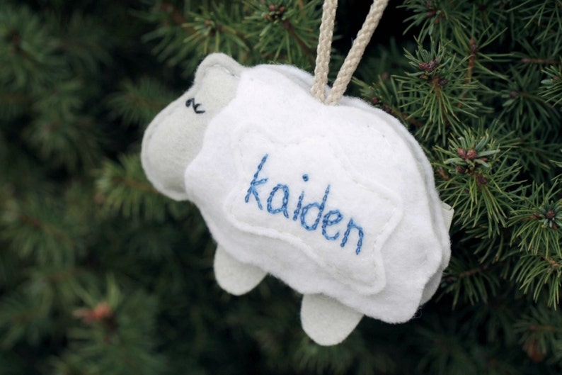 Baby's First Christmas. Personalized Ornament. Felt Sheep image 0