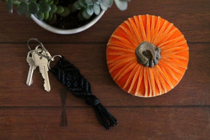 Halloween Small Key Chain. Black Macrame Key Clip. Gifts Under image 0