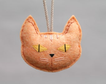 Orange Cat Ornament. Cat Lady Gift. Embroidered Felt Christmas Ornament. Plush Cat Head. Handmade by OrdinaryMommy on Etsy
