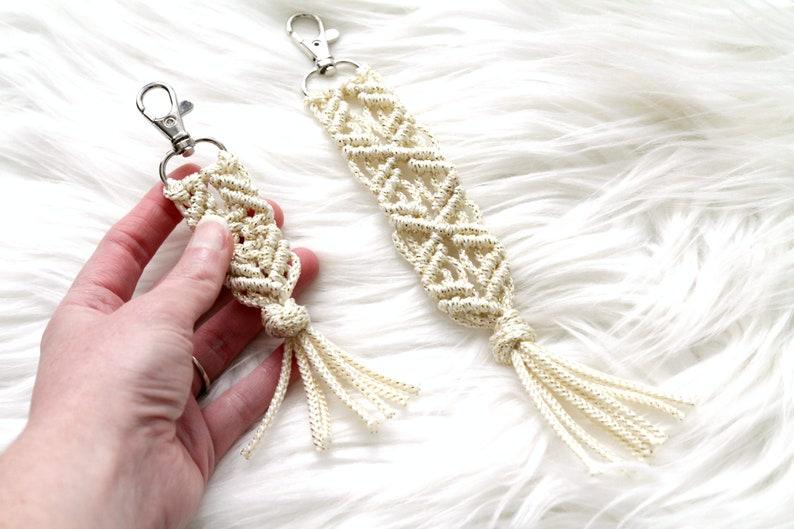 Gold Sparkle Macrame Key Chain. Bohemian Accessory. Zipper image 0