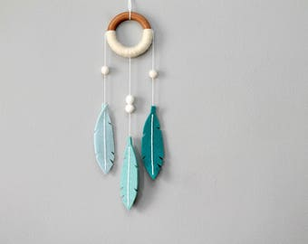 Dream Catcher Aqua Blue. Minimalist Felt Feather Dreamer. Modern Dreamcatcher. Turquoise Feather Wall Hanging. Handmade by OrdinaryMommy
