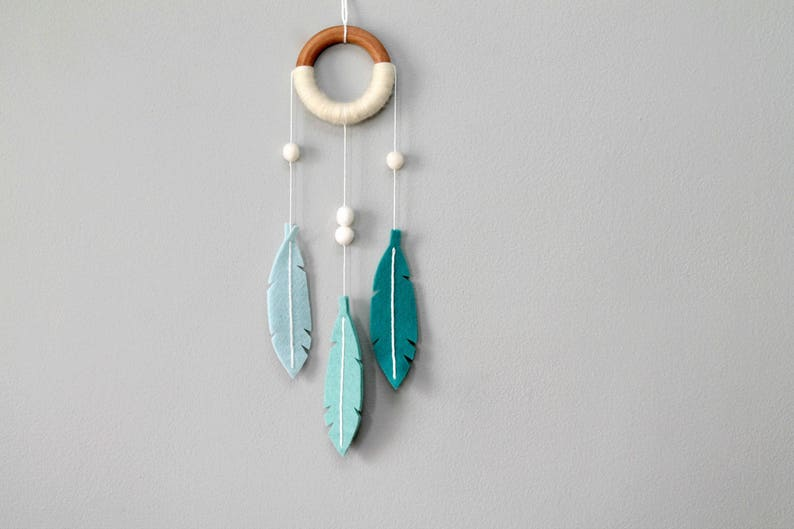 Dream Catcher Aqua Blue. Minimalist Felt Feather Dreamer. image 0