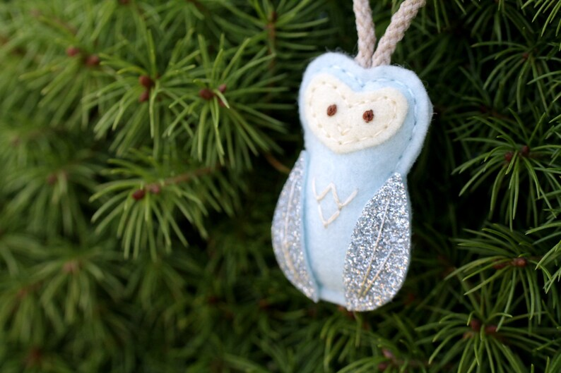 Mini Felt Owl Ornament in Blue. Baby Christmas Ornament. image 0